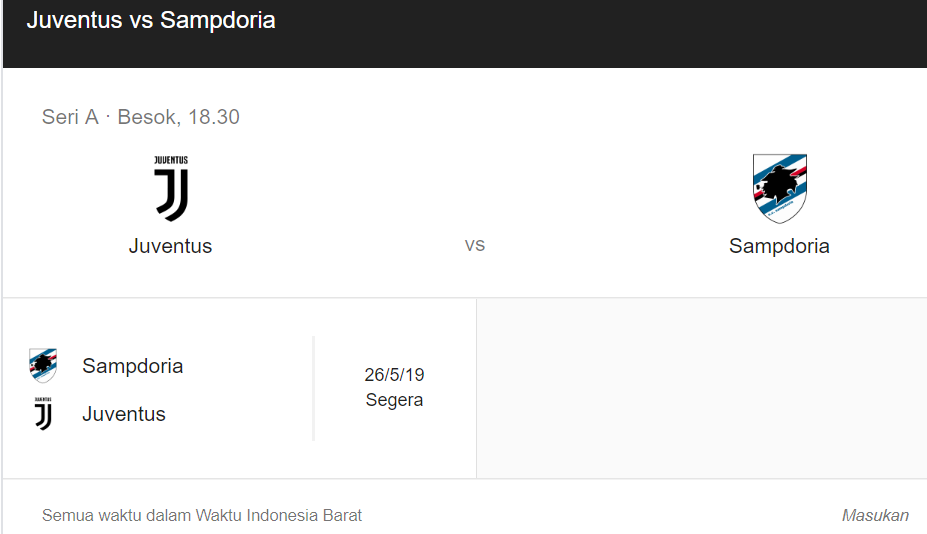 Jadwal Pertandingan dan Live Streaming Juventus vs Sampdoria