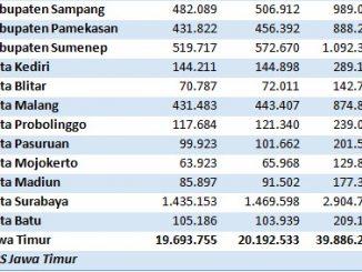 Jumlah Penduduk Jawa Timur Tahun 2020