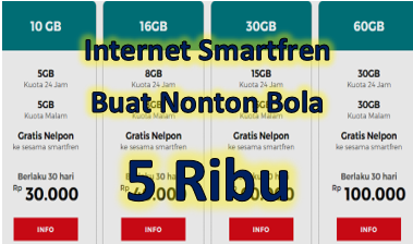 Kuota Internet Smartfren 5 Ribu Buat Nonton Bola