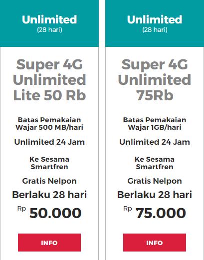 Super 4G Unlimited Smartfren 50 Ribu