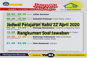 Jadwal pelajaran Rabu 22 April 2020 di TVRI lengkap dengan rangkuman dan soal jawaban