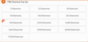 Harga untuk 720 Diamonds, adalah Rp100 ribu