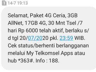 BUKTI paket internet Cerita 4G Telkomsel kuota 20GB hanya 6000