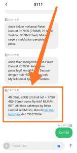 Paket Internet Ceria 4G Telkomsel Via SMS ke 5111