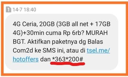 Paket Internet Ceria 4G Telkomsel lewat Dial UMB